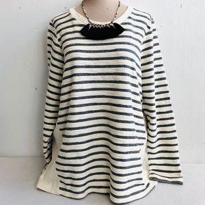 Per Se French Terry Striped Tunic Sweatshirt Top